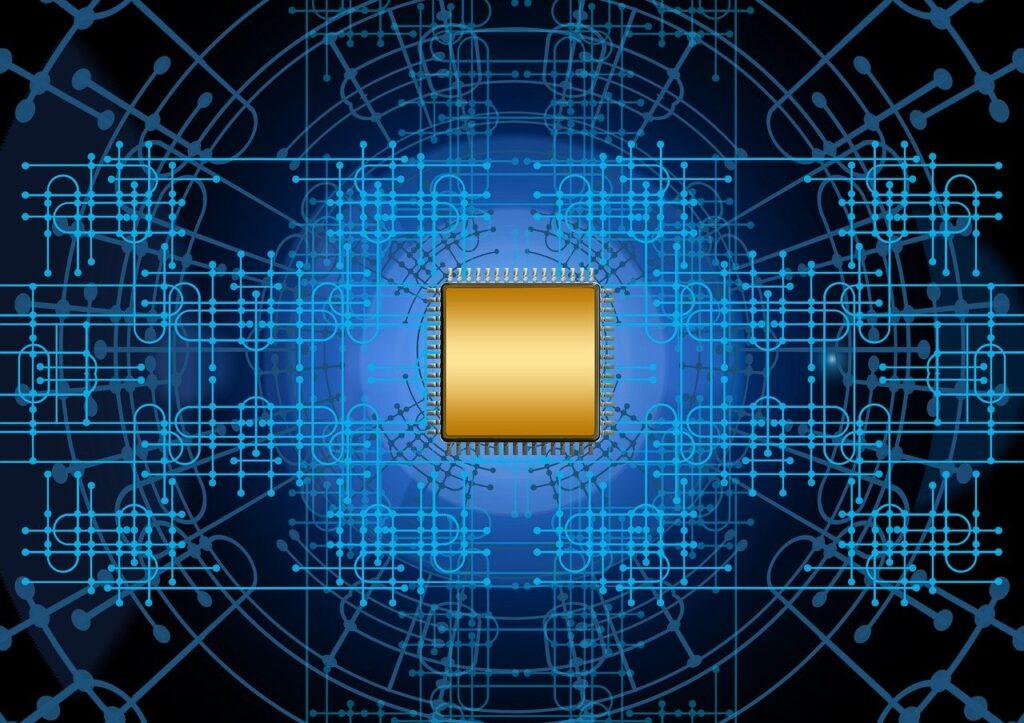 computer chip, circuit board, computer